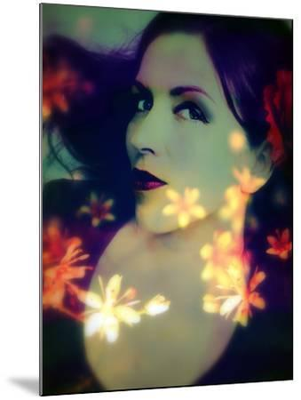 A Moody Evening Portrait of a Woman with Bright Flower Appearence-Alaya Gadeh-Mounted Photographic Print