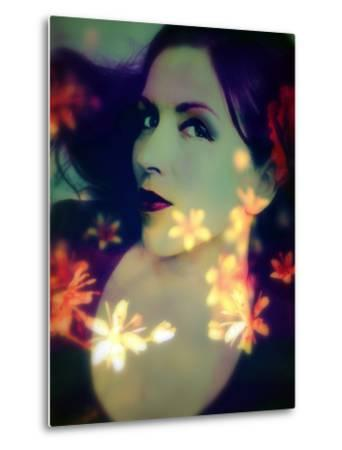 A Moody Evening Portrait of a Woman with Bright Flower Appearence-Alaya Gadeh-Metal Print