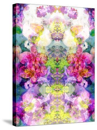 Multicolor Blossoms in Water Ornament Symmetri-Alaya Gadeh-Stretched Canvas Print