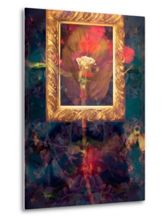 A Floral Montage from Roses in a Golden Frame-Alaya Gadeh-Metal Print