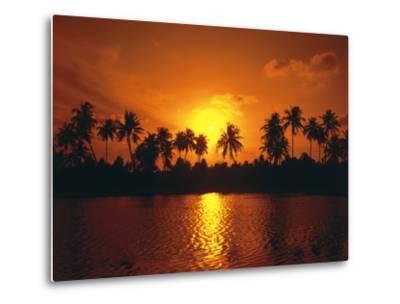Palm Island, Silhouette, Sundown-Thonig-Metal Print