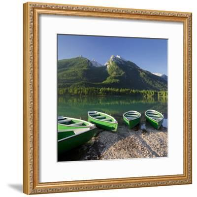 Boats in the Hintersee, Berchtesgadener Land District, Bavaria, Germany-Rainer Mirau-Framed Photographic Print