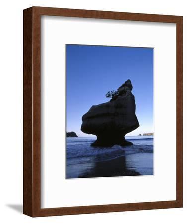 New Zealand, Coromandel Peninsula, Cathedral Cove, Tuff Stone Rock in the Sea-Thonig-Framed Photographic Print
