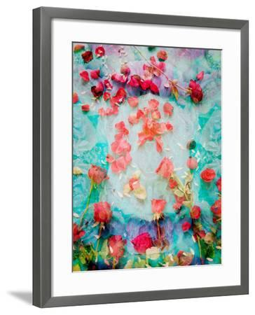 Photomontage of Red Roses and Floralen Ornaments-Alaya Gadeh-Framed Photographic Print