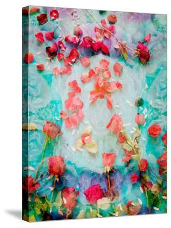 Photomontage of Red Roses and Floralen Ornaments-Alaya Gadeh-Stretched Canvas Print