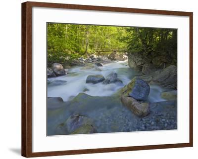 Austria, Carinthia, Mauthner Klamm (Ravine), Valentinbach (Brook), Stones, Bridge-Rainer Mirau-Framed Photographic Print