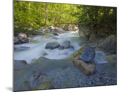Austria, Carinthia, Mauthner Klamm (Ravine), Valentinbach (Brook), Stones, Bridge-Rainer Mirau-Mounted Photographic Print