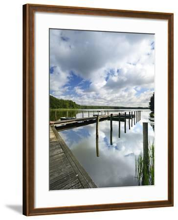 Germany, Brandenburg, Himmelpfort, Moderfitzsee, Jetty, Rowing Boats-Andreas Vitting-Framed Photographic Print