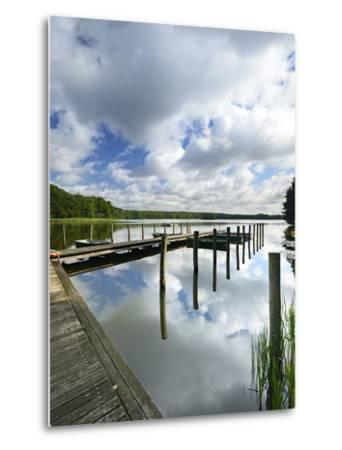 Germany, Brandenburg, Himmelpfort, Moderfitzsee, Jetty, Rowing Boats-Andreas Vitting-Metal Print