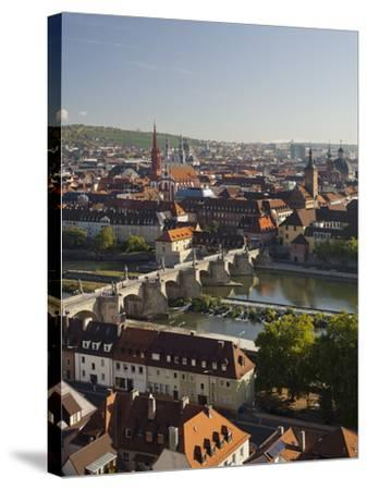 View from the 'Marienberg' Fortress over Wurzburg, 'Alte MainbrŸcke' (Bridge-Rainer Mirau-Stretched Canvas Print