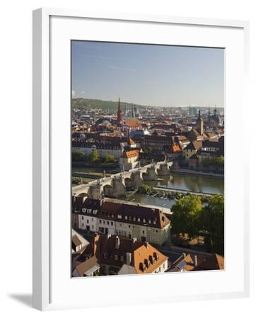 View from the 'Marienberg' Fortress over Wurzburg, 'Alte MainbrŸcke' (Bridge-Rainer Mirau-Framed Photographic Print