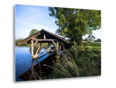 Boat Garage in the Schwaigfurt Pond Bad Schussenried, Baden-WŸrttemberg, Germany-Markus Leser-Metal Print