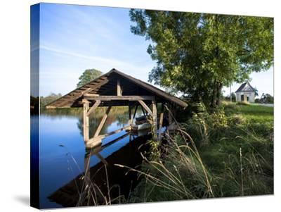Boat Garage in the Schwaigfurt Pond Bad Schussenried, Baden-WŸrttemberg, Germany-Markus Leser-Stretched Canvas Print