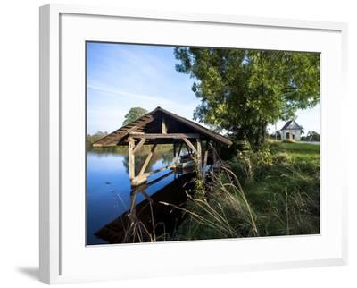 Boat Garage in the Schwaigfurt Pond Bad Schussenried, Baden-WŸrttemberg, Germany-Markus Leser-Framed Photographic Print