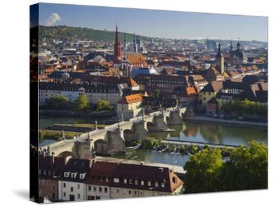 View from the 'Marienberg' Fortress over Wurzburg, 'Alte MainbrŸcke' (Bridge-Rainer Mirau-Stretched Canvas Print
