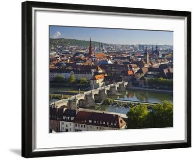 View from the 'Marienberg' Fortress over Wurzburg, 'Alte MainbrŸcke' (Bridge-Rainer Mirau-Framed Photographic Print