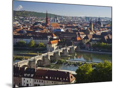 View from the 'Marienberg' Fortress over Wurzburg, 'Alte MainbrŸcke' (Bridge-Rainer Mirau-Mounted Photographic Print