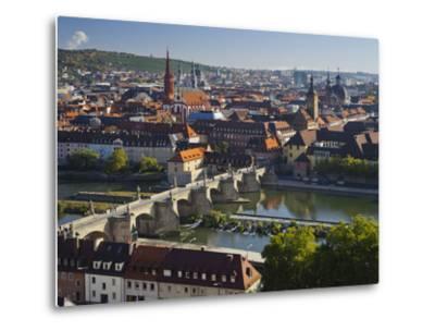 View from the 'Marienberg' Fortress over Wurzburg, 'Alte MainbrŸcke' (Bridge-Rainer Mirau-Metal Print