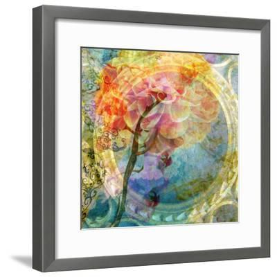 A Multicolor Translucent Floral Montage of a Dahlia-Alaya Gadeh-Framed Photographic Print