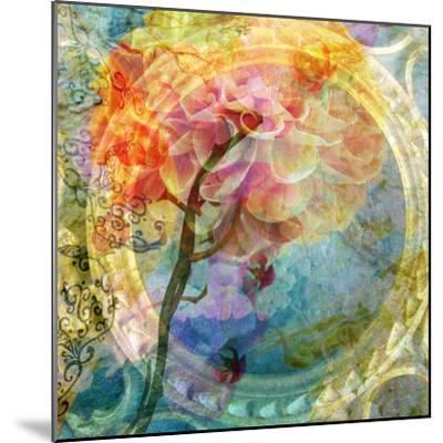 A Multicolor Translucent Floral Montage of a Dahlia-Alaya Gadeh-Mounted Photographic Print