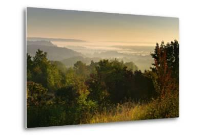 Morning Fog in the Saale Valley, Near Naumburg, Burgenlandkreis, Saxony-Anhalt, Germany-Andreas Vitting-Metal Print