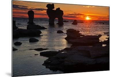 Stacks on the Island Far? Close Gotland, Sweden, Silhouette, Sundown-Thomas Ebelt-Mounted Photographic Print