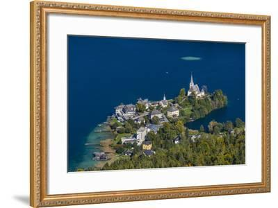 Austria, Carinthia, W?rthersee, Maria W?rth, View from the Pyramidenkogel-Udo Siebig-Framed Photographic Print