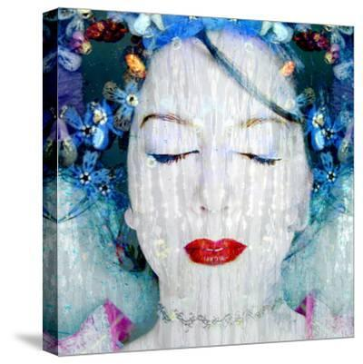 A Montage of a Portrait of a Womans Face with Flowers and Textures-Alaya Gadeh-Stretched Canvas Print