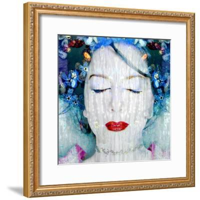A Montage of a Portrait of a Womans Face with Flowers and Textures-Alaya Gadeh-Framed Photographic Print