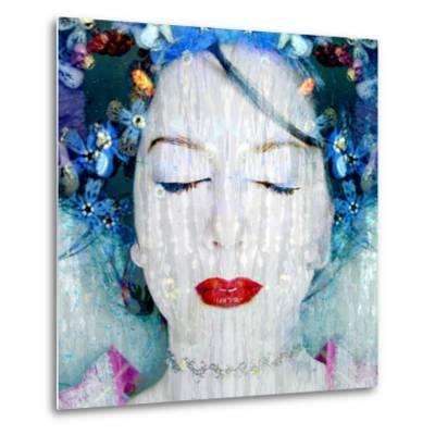 A Montage of a Portrait of a Womans Face with Flowers and Textures-Alaya Gadeh-Metal Print