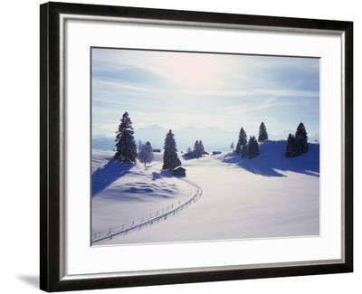 Germany, Bavaria, AllgŠu, Snow Scenery, Back Light, Alps, Mountains, Loneliness, Mountains, Winter-Herbert Kehrer-Framed Photographic Print