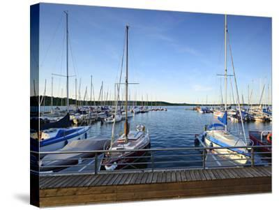 Germany, Saxony-Anhalt, MŸcheln, Geiseltalsee, Marina, Sailboats in the Evening Light-Andreas Vitting-Stretched Canvas Print