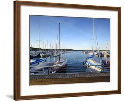 Germany, Saxony-Anhalt, MŸcheln, Geiseltalsee, Marina, Sailboats in the Evening Light-Andreas Vitting-Framed Photographic Print