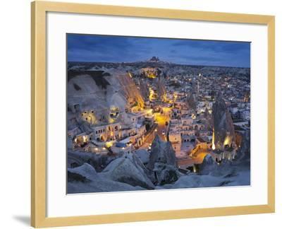 City View of Gšreme by Night, Cappadocia, Anatolia, Turkey-Rainer Mirau-Framed Photographic Print