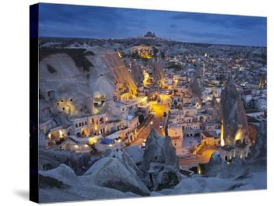 City View of Gšreme by Night, Cappadocia, Anatolia, Turkey-Rainer Mirau-Stretched Canvas Print