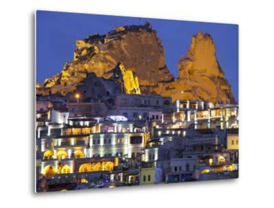 Castle Rocks of Uchisar at Night, Cappadocia, Anatolia, Turkey-Rainer Mirau-Metal Print
