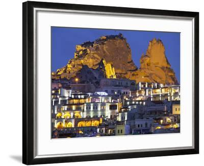 Castle Rocks of Uchisar at Night, Cappadocia, Anatolia, Turkey-Rainer Mirau-Framed Photographic Print