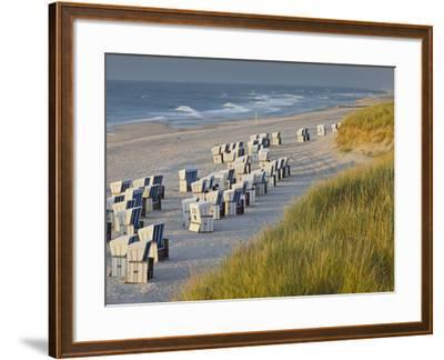Beach Chairs on the Beach Close Kampen (Municipality), Sylt (Island), Schleswig-Holstein, Germany-Rainer Mirau-Framed Photographic Print