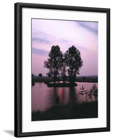 Lake, Island, Trees, Evening Mood-Thonig-Framed Photographic Print