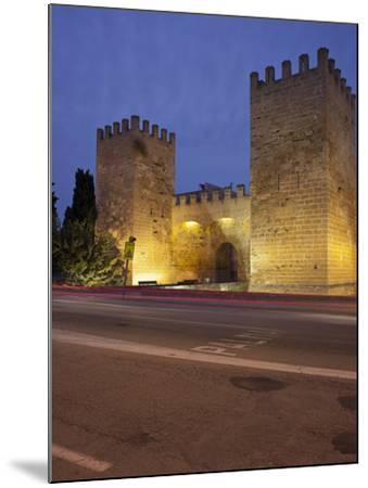 Castle Gate in Alcœdia, in the Evening, Majorca, Spain-Rainer Mirau-Mounted Photographic Print