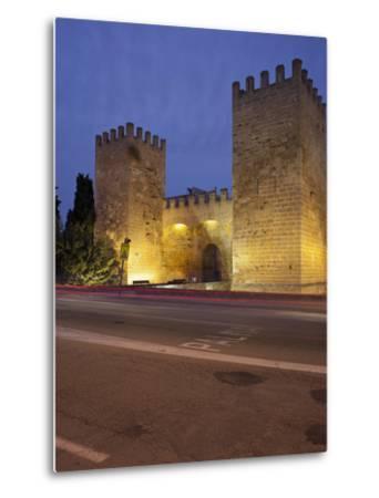 Castle Gate in Alcœdia, in the Evening, Majorca, Spain-Rainer Mirau-Metal Print