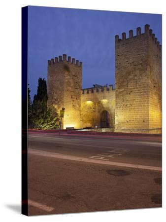 Castle Gate in Alcœdia, in the Evening, Majorca, Spain-Rainer Mirau-Stretched Canvas Print