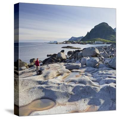 Norway, Nordland, Lofoten, Coast, Young Woman with Dog-Rainer Mirau-Stretched Canvas Print