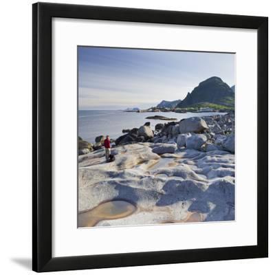 Norway, Nordland, Lofoten, Coast, Young Woman with Dog-Rainer Mirau-Framed Photographic Print