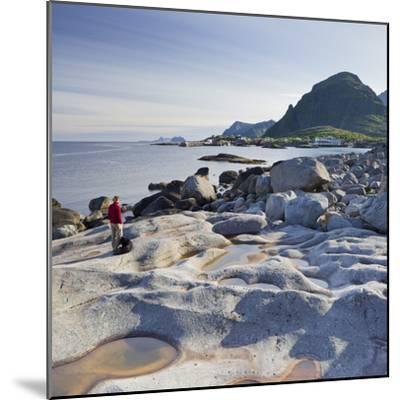Norway, Nordland, Lofoten, Coast, Young Woman with Dog-Rainer Mirau-Mounted Photographic Print