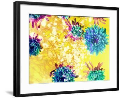 Composing of Blue and Green Blossoms in Yellow Water, Violet Petals, White Flowering Branch-Alaya Gadeh-Framed Photographic Print