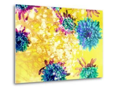 Composing of Blue and Green Blossoms in Yellow Water, Violet Petals, White Flowering Branch-Alaya Gadeh-Metal Print