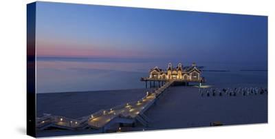 Europe, Germany, Mecklenburg-Western Pomerania, Baltic Sea Island, RŸgen, Sellin, Pier, Dusk-Chris Seba-Stretched Canvas Print
