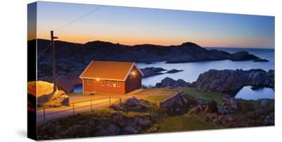 Norway, Vest Adger, Houses, Coast, Dusk-Rainer Mirau-Stretched Canvas Print