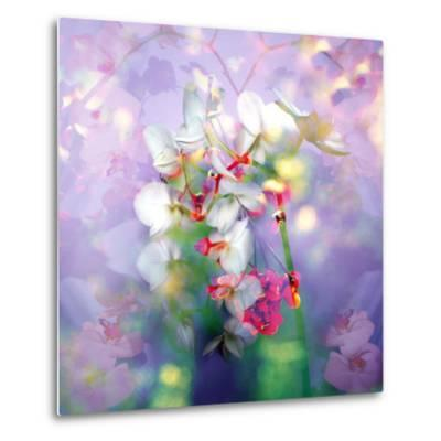 White Orchids in a Vase with Dreamy Texture-Alaya Gadeh-Metal Print